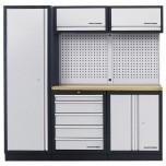 Móvel de Oficina de 3 elementos com Bancada em Madeira