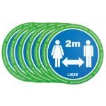 Autocolantes de chão com avisos, 6 PCS